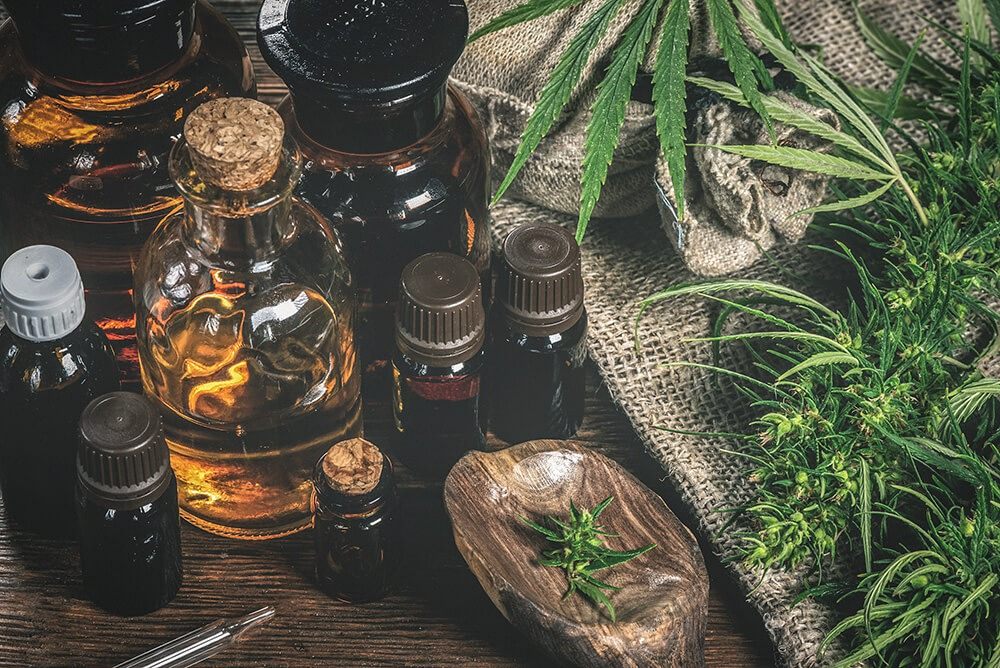 CBD oil bottles and green plant of cannabis - Return/Exchange Policy